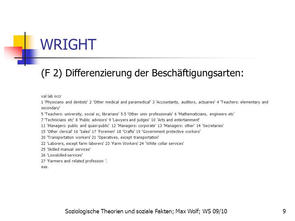 9 WRIGHT (F 2) Differenzierung der Beschäftigungsarten: val lab occr 1 'Physicians and dentists 2 'Other medical and paramedical 3 'Accountants, audit