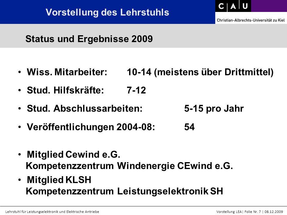 Lehrstuhl für Leistungselektronik und Elektrische AntriebeVorstellung LEA  Folie Nr. 7   08.12.2009 Wiss. Mitarbeiter:10-14 (meistens über Drittmittel