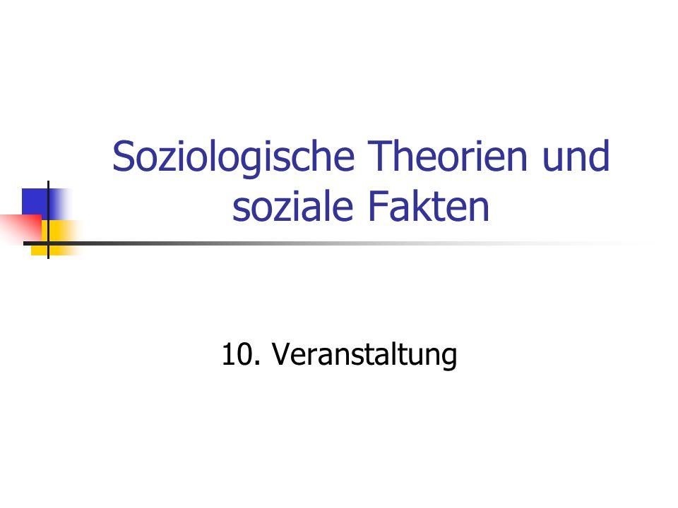 Soziologische Theorien und soziale Fakten 10. Veranstaltung