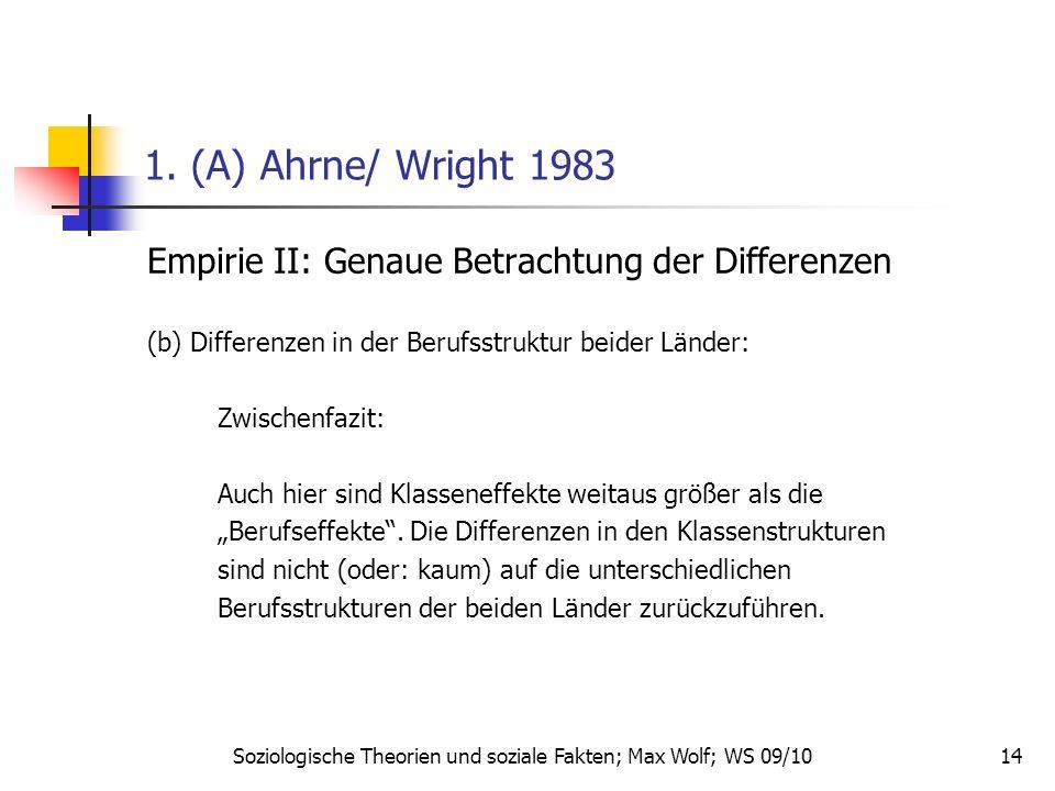 14 1. (A) Ahrne/ Wright 1983 Empirie II: Genaue Betrachtung der Differenzen (b) Differenzen in der Berufsstruktur beider Länder: Zwischenfazit: Auch h