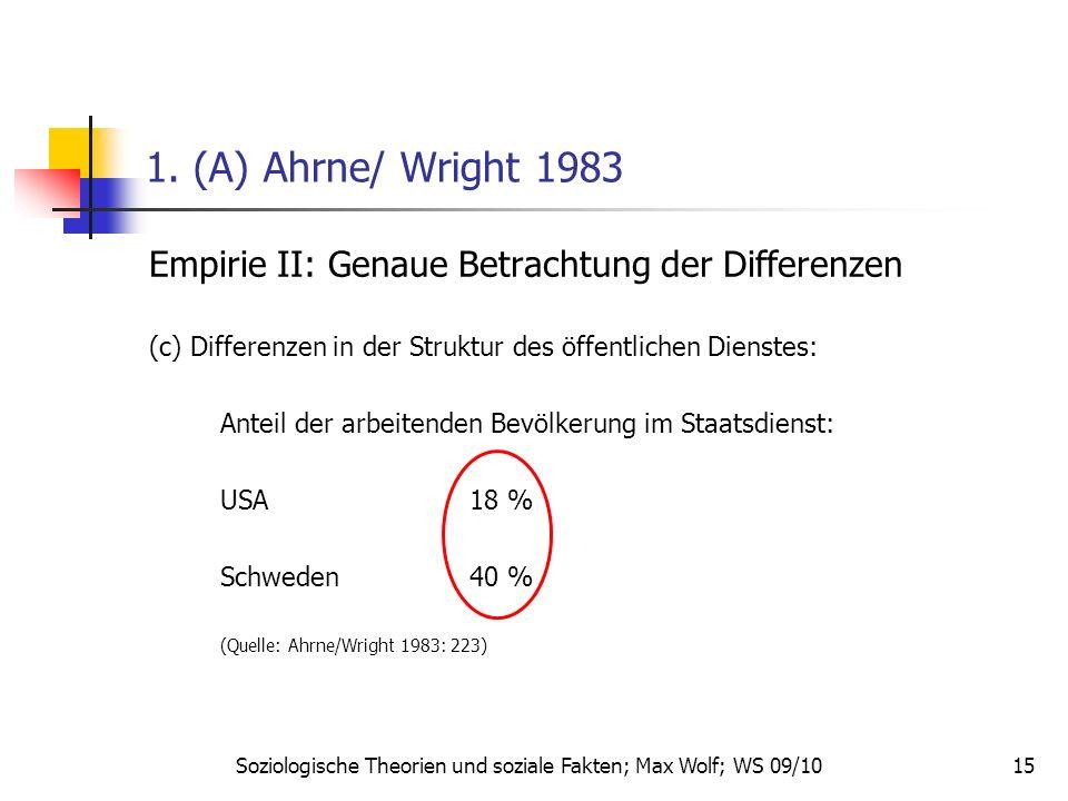 15 1. (A) Ahrne/ Wright 1983 Empirie II: Genaue Betrachtung der Differenzen (c) Differenzen in der Struktur des öffentlichen Dienstes: Anteil der arbe