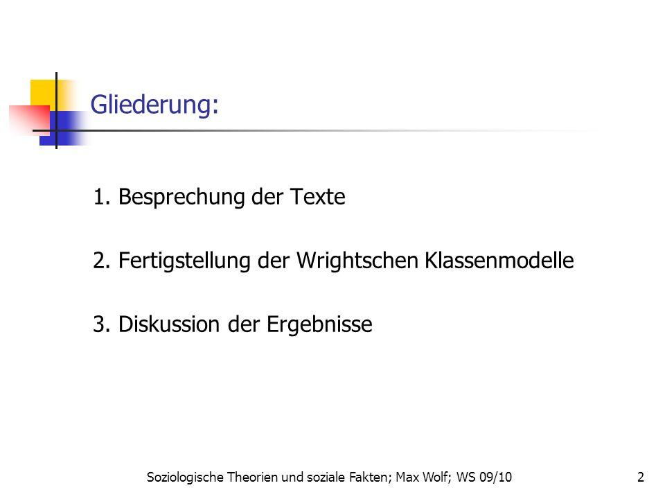 Soziologische Theorien und soziale Fakten; Max Wolf; WS 09/10 2 Gliederung: 1. Besprechung der Texte 2. Fertigstellung der Wrightschen Klassenmodelle