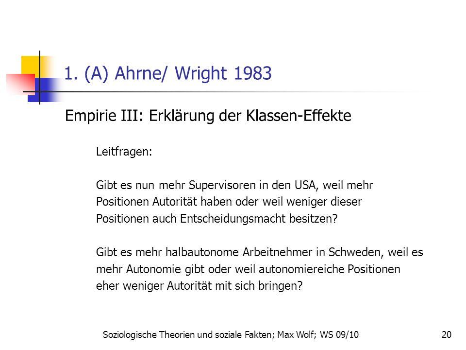 20 1. (A) Ahrne/ Wright 1983 Empirie III: Erklärung der Klassen-Effekte Leitfragen: Gibt es nun mehr Supervisoren in den USA, weil mehr Positionen Aut