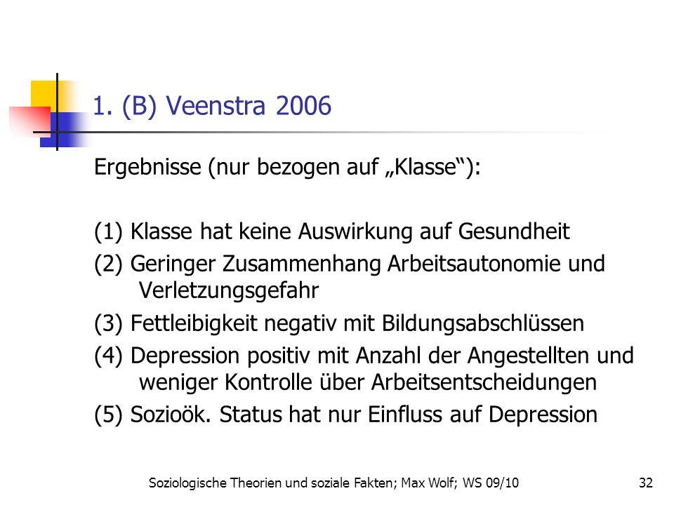 32 1. (B) Veenstra 2006 Ergebnisse (nur bezogen auf Klasse): (1) Klasse hat keine Auswirkung auf Gesundheit (2) Geringer Zusammenhang Arbeitsautonomie