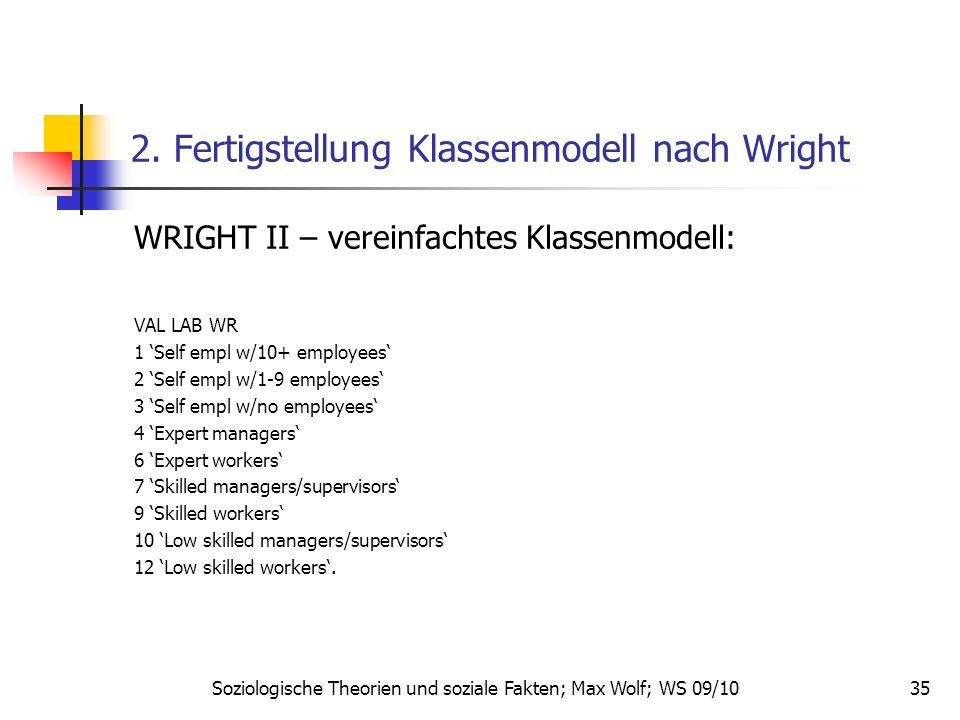 35 2. Fertigstellung Klassenmodell nach Wright WRIGHT II – vereinfachtes Klassenmodell: VAL LAB WR 1 Self empl w/10+ employees 2 Self empl w/1-9 emplo