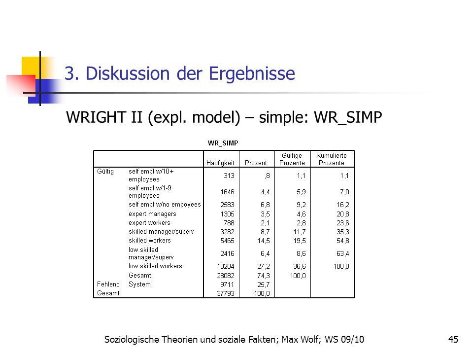 45 3. Diskussion der Ergebnisse WRIGHT II (expl. model) – simple: WR_SIMP Soziologische Theorien und soziale Fakten; Max Wolf; WS 09/10