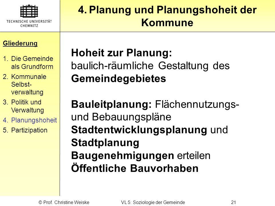 Gliederung 4.Planung und Planungshoheit der Kommune Gliederung 1.Die Gemeinde als Grundform 2.Kommunale Selbst- verwaltung 3.Politik und Verwaltung 4.
