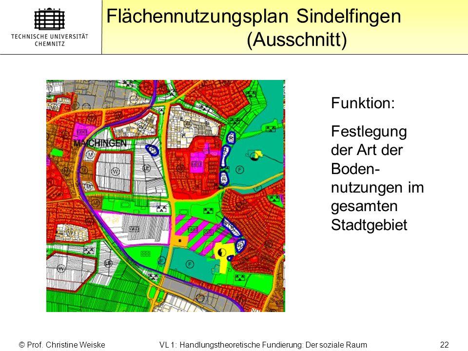 Gliederung Flächennutzungsplan Sindelfingen (Ausschnitt) © Prof. Christine Weiske VL 1: Handlungstheoretische Fundierung: Der soziale Raum 22 Funktion