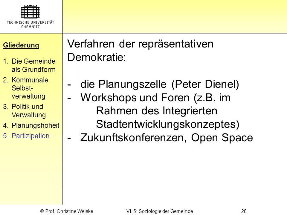 Gliederung 1.Die Gemeinde als Grundform 2.Kommunale Selbst- verwaltung 3.Politik und Verwaltung 4.Planungshoheit 5.Partizipation © Prof. Christine Wei