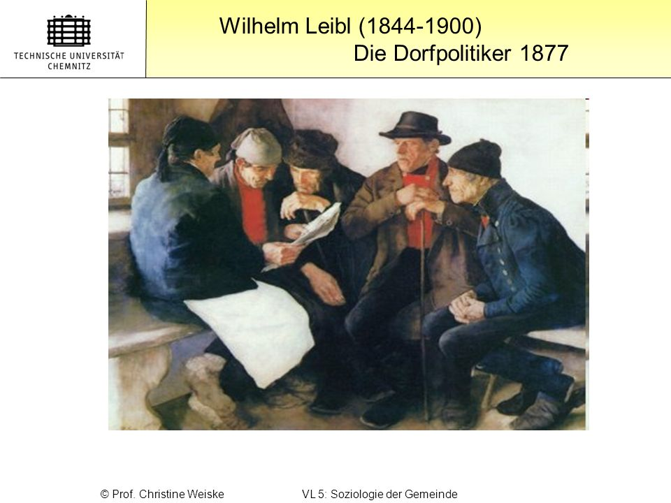 Wilhelm Leibl (1844-1900) Die Dorfpolitiker 1877 © Prof. Christine Weiske VL 5: Soziologie der Gemeinde
