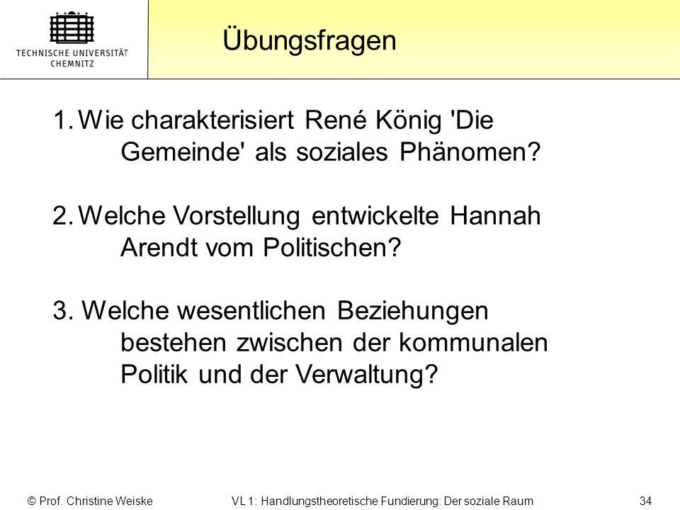 Gliederung Übungsfragen: Übungsfragen © Prof. Christine Weiske VL 1: Handlungstheoretische Fundierung: Der soziale Raum 34 1.Wie charakterisiert René