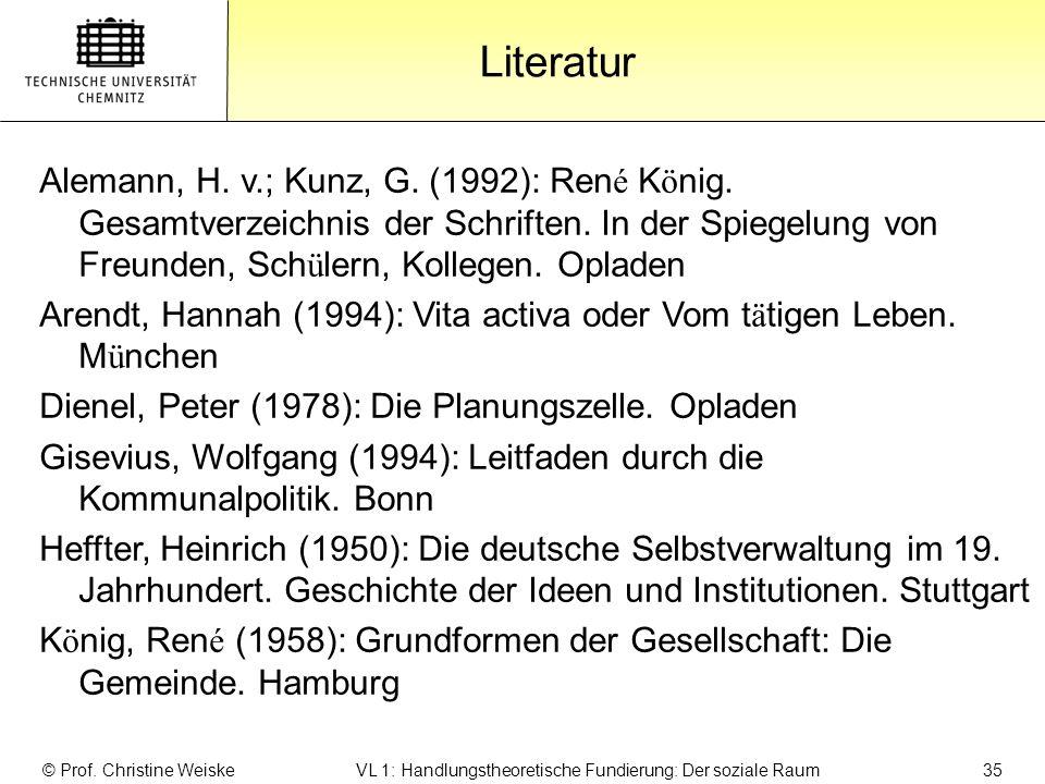Gliederung Literatur © Prof. Christine Weiske VL 1: Handlungstheoretische Fundierung: Der soziale Raum 35 Alemann, H. v.; Kunz, G. (1992): Ren é K ö n