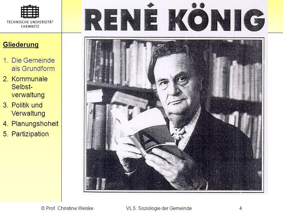 Gliederung René König Gliederung 1.Die Gemeinde als Grundform 2.Kommunale Selbst- verwaltung 3.Politik und Verwaltung 4.Planungshoheit 5.Partizipation © Prof.