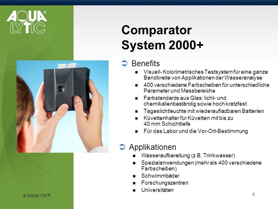 © AQUALYTIC ® 6 Comparator System 2000+ Benefits Visuell- Kolorimetrisches Testsystem für eine ganze Bandbreite von Applikationen der Wasseranalyse 40