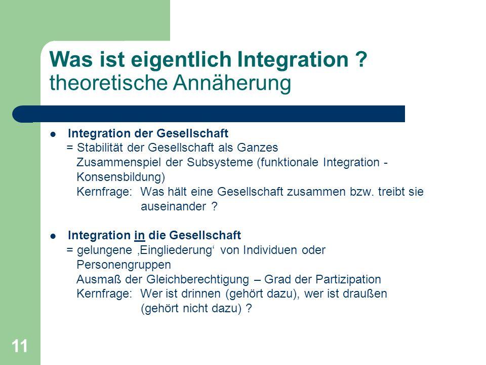 11 Was ist eigentlich Integration ? theoretische Annäherung Integration der Gesellschaft = Stabilität der Gesellschaft als Ganzes Zusammenspiel der Su