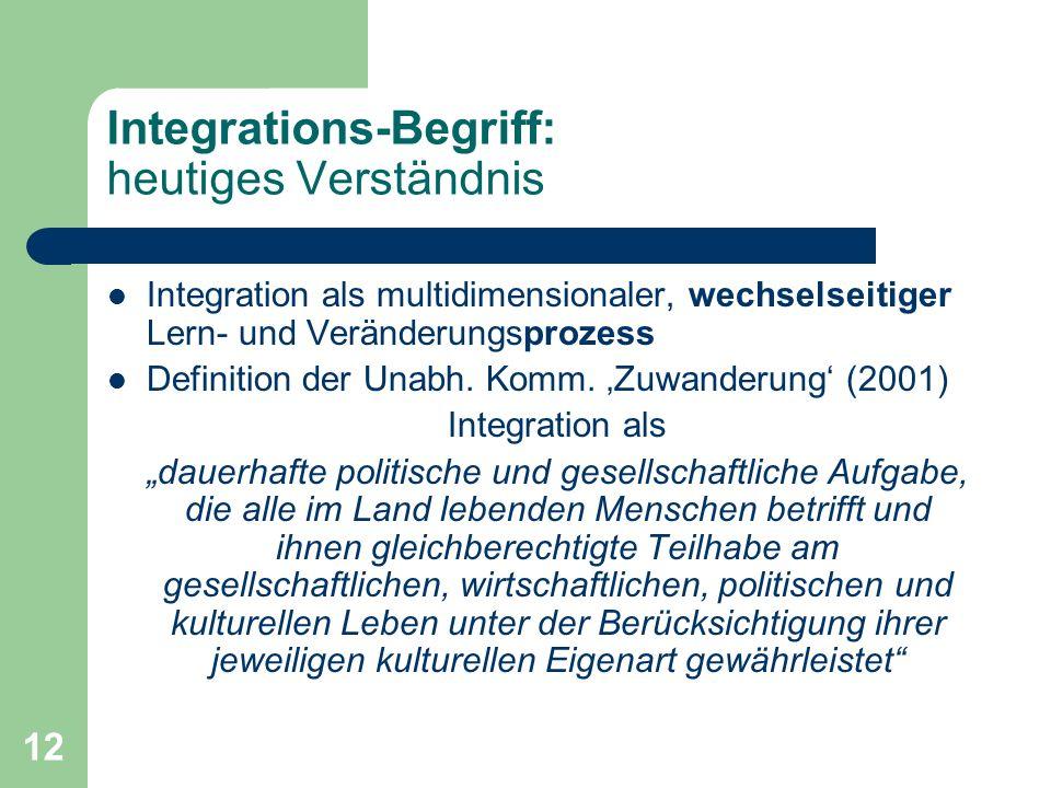 12 Integrations-Begriff: heutiges Verständnis Integration als multidimensionaler, wechselseitiger Lern- und Veränderungsprozess Definition der Unabh.