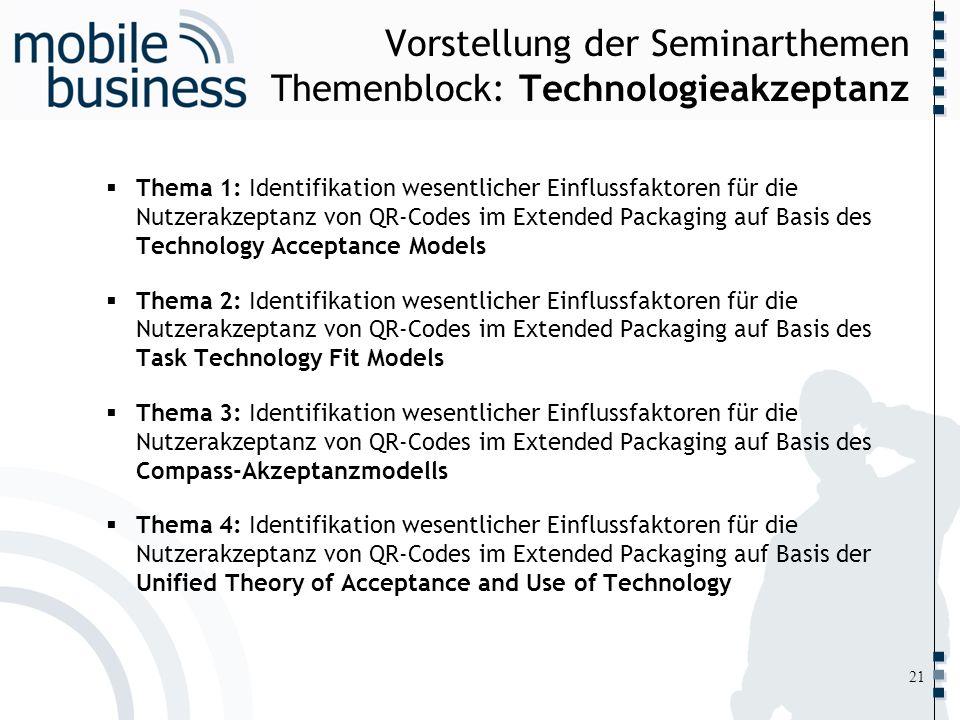 ……... Vorstellung der Seminarthemen Themenblock: Technologieakzeptanz Thema 1: Identifikation wesentlicher Einflussfaktoren für die Nutzerakzeptanz vo
