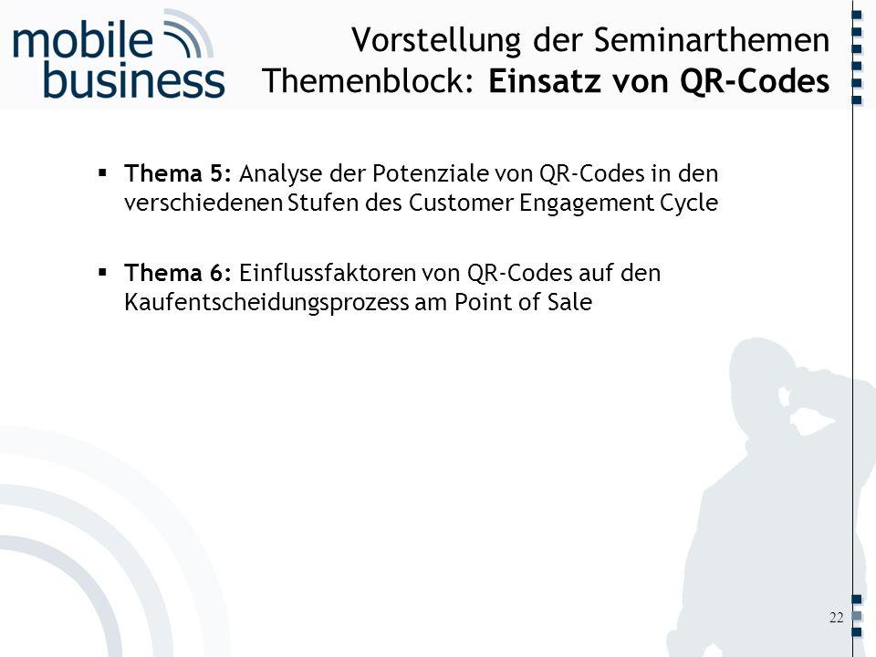 ……... Vorstellung der Seminarthemen Themenblock: Einsatz von QR-Codes Thema 5: Analyse der Potenziale von QR-Codes in den verschiedenen Stufen des Cus