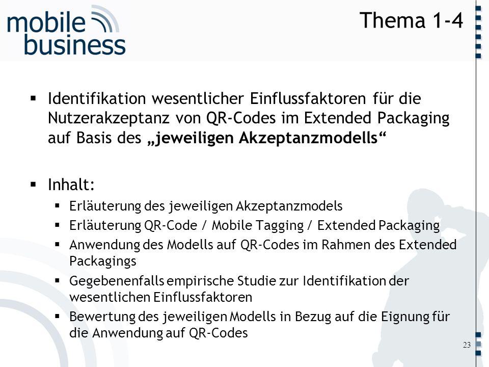……... Thema 1-4 Identifikation wesentlicher Einflussfaktoren für die Nutzerakzeptanz von QR-Codes im Extended Packaging auf Basis des jeweiligen Akzep