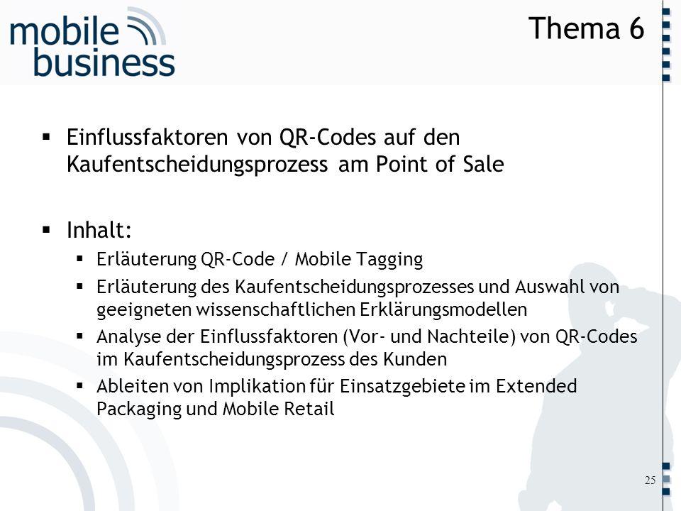 ……... Thema 6 Einflussfaktoren von QR-Codes auf den Kaufentscheidungsprozess am Point of Sale Inhalt: Erläuterung QR-Code / Mobile Tagging Erläuterung