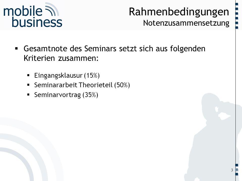 ……... Rahmenbedingungen Notenzusammensetzung Gesamtnote des Seminars setzt sich aus folgenden Kriterien zusammen: Eingangsklausur (15%) Seminararbeit