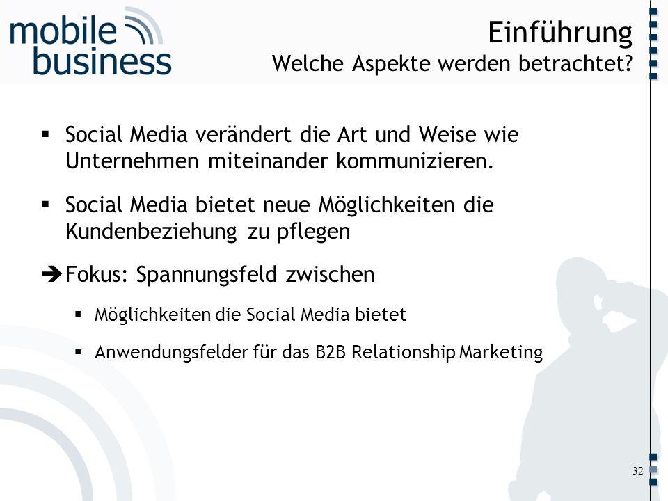 ……... Einführung Welche Aspekte werden betrachtet? Social Media verändert die Art und Weise wie Unternehmen miteinander kommunizieren. Social Media bi