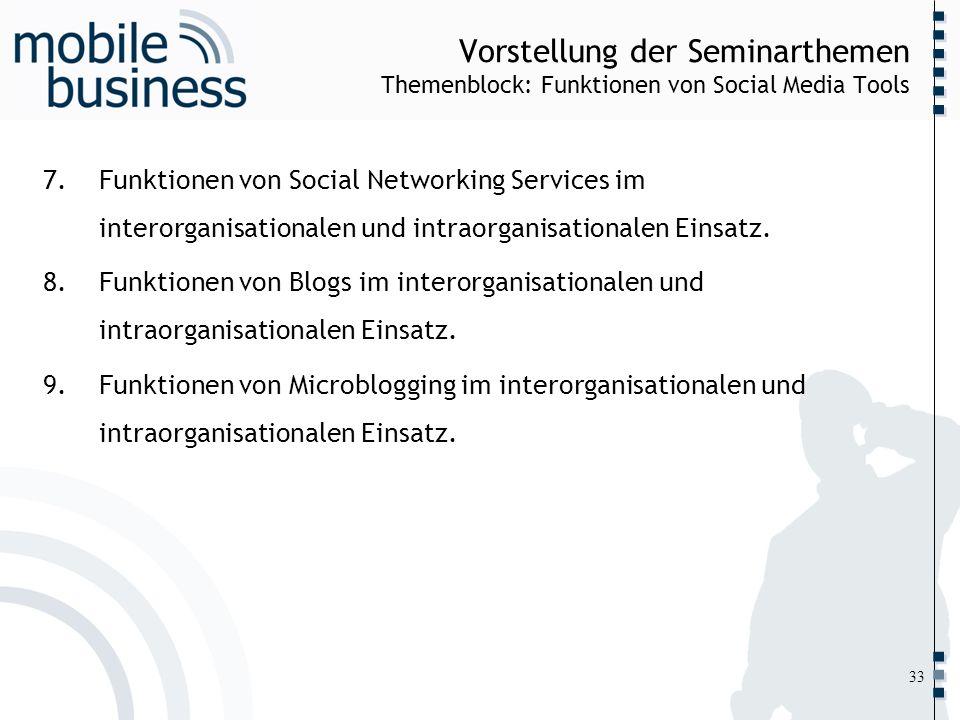 ……... Vorstellung der Seminarthemen Themenblock: Funktionen von Social Media Tools 7.Funktionen von Social Networking Services im interorganisationale