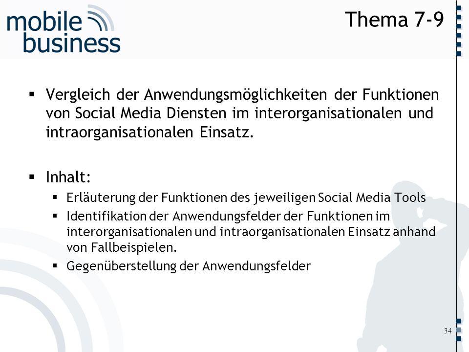 ……... Thema 7-9 Vergleich der Anwendungsmöglichkeiten der Funktionen von Social Media Diensten im interorganisationalen und intraorganisationalen Eins