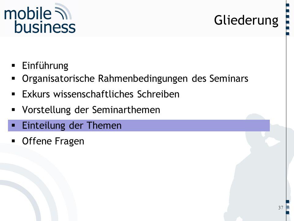 ……... Einführung Organisatorische Rahmenbedingungen des Seminars Exkurs wissenschaftliches Schreiben Vorstellung der Seminarthemen Einteilung der Them