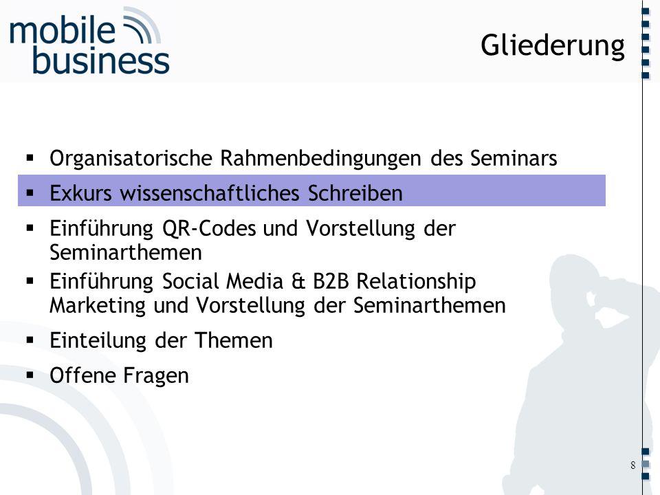 ……... Gliederung Organisatorische Rahmenbedingungen des Seminars Exkurs wissenschaftliches Schreiben Einführung QR-Codes und Vorstellung der Seminarth