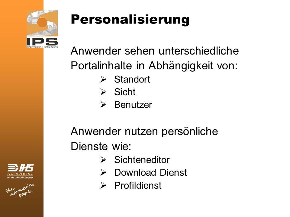 Personalisierung Anwender sehen unterschiedliche Portalinhalte in Abhängigkeit von: Standort Sicht Benutzer Anwender nutzen persönliche Dienste wie: S