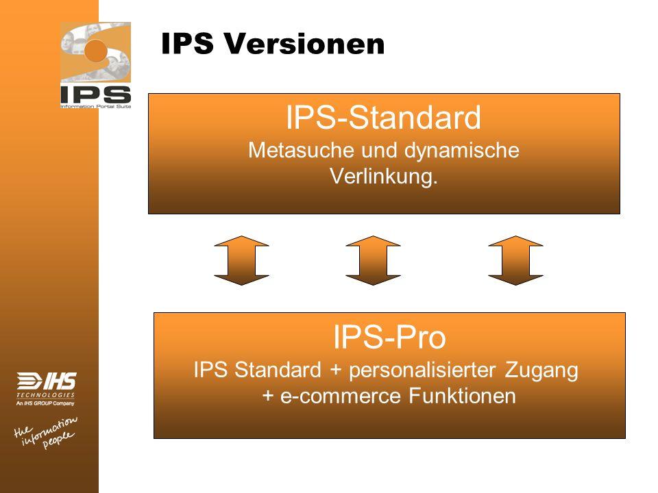 IPS Versionen IPS-Pro IPS Standard + personalisierter Zugang + e-commerce Funktionen IPS-Standard Metasuche und dynamische Verlinkung.