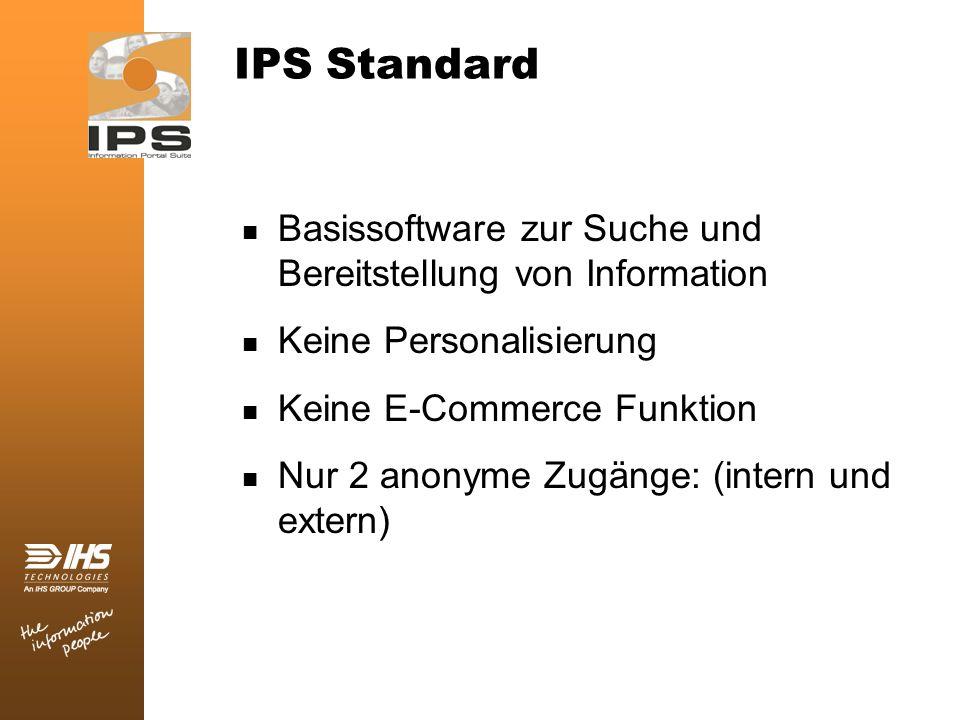 IPS Standard Basissoftware zur Suche und Bereitstellung von Information Keine Personalisierung Keine E-Commerce Funktion Nur 2 anonyme Zugänge: (inter