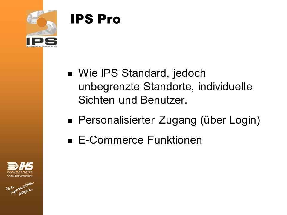 IPS Pro Wie IPS Standard, jedoch unbegrenzte Standorte, individuelle Sichten und Benutzer. Personalisierter Zugang (über Login) E-Commerce Funktionen