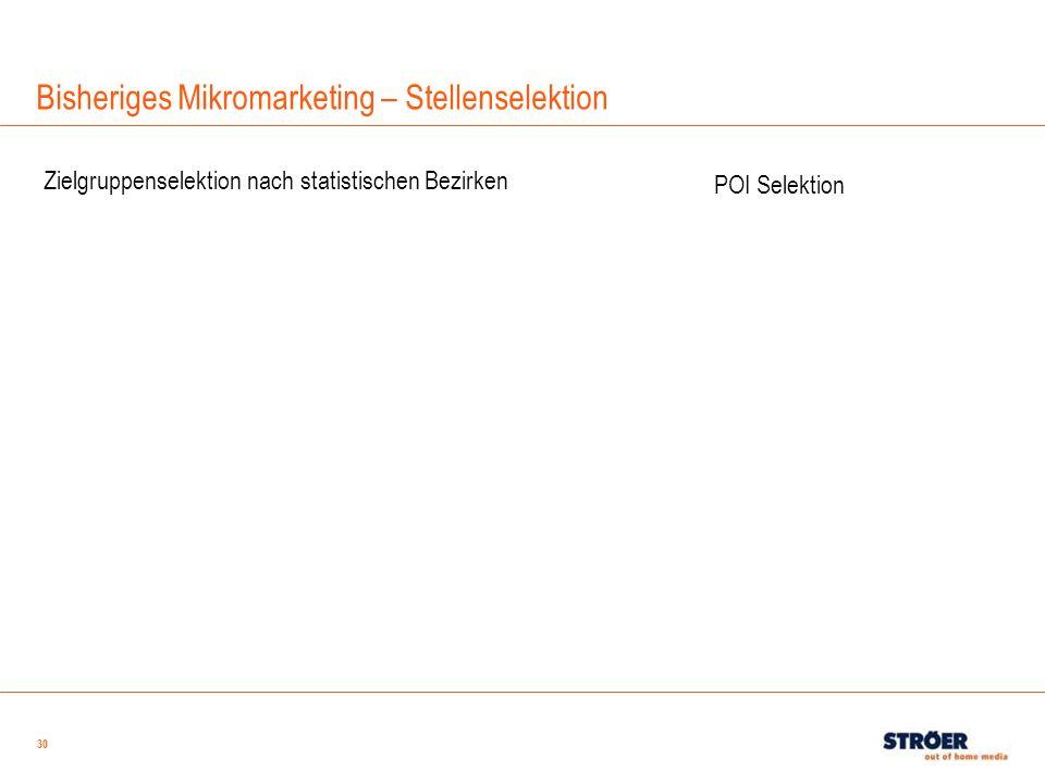 30 Bisheriges Mikromarketing – Stellenselektion Zielgruppenselektion nach statistischen Bezirken POI Selektion