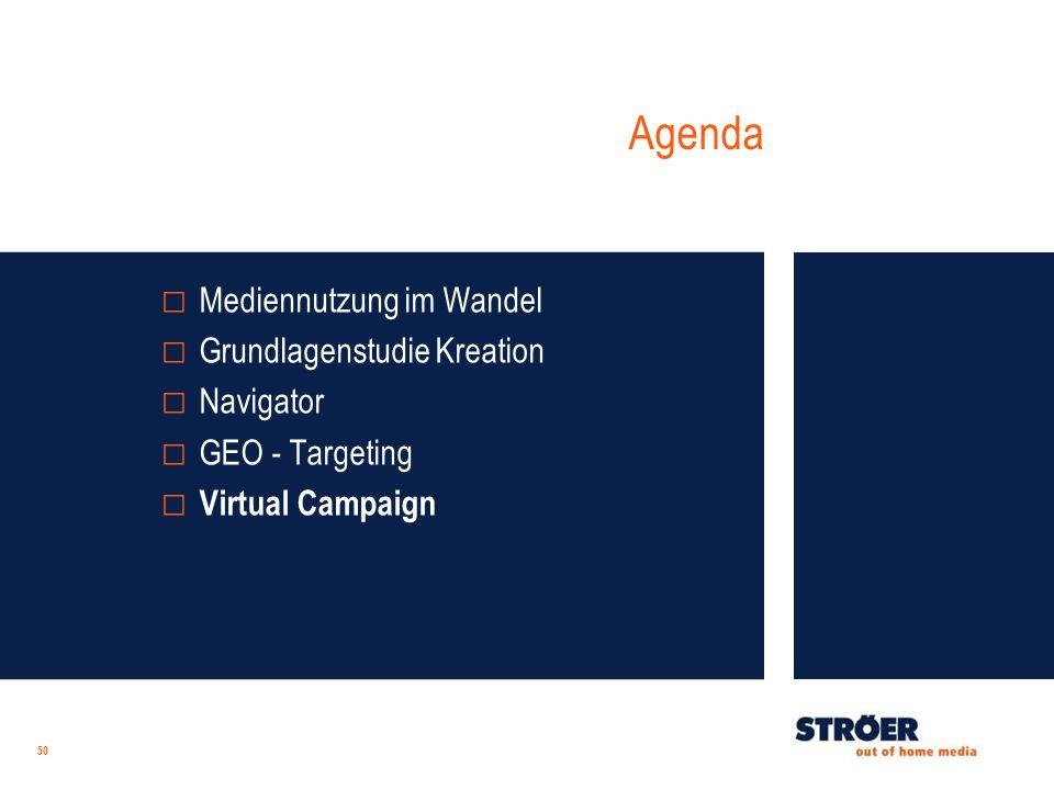 Agenda 50 Mediennutzung im Wandel Grundlagenstudie Kreation Navigator GEO - Targeting Virtual Campaign