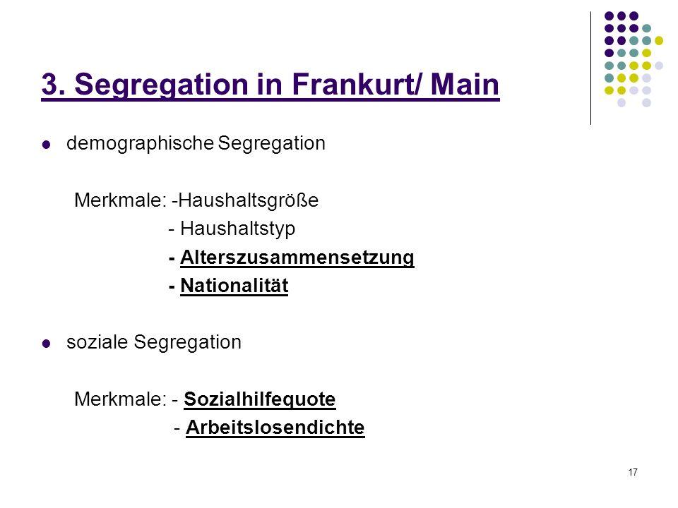 17 3. Segregation in Frankurt/ Main demographische Segregation Merkmale: -Haushaltsgröße - Haushaltstyp - Alterszusammensetzung - Nationalität soziale