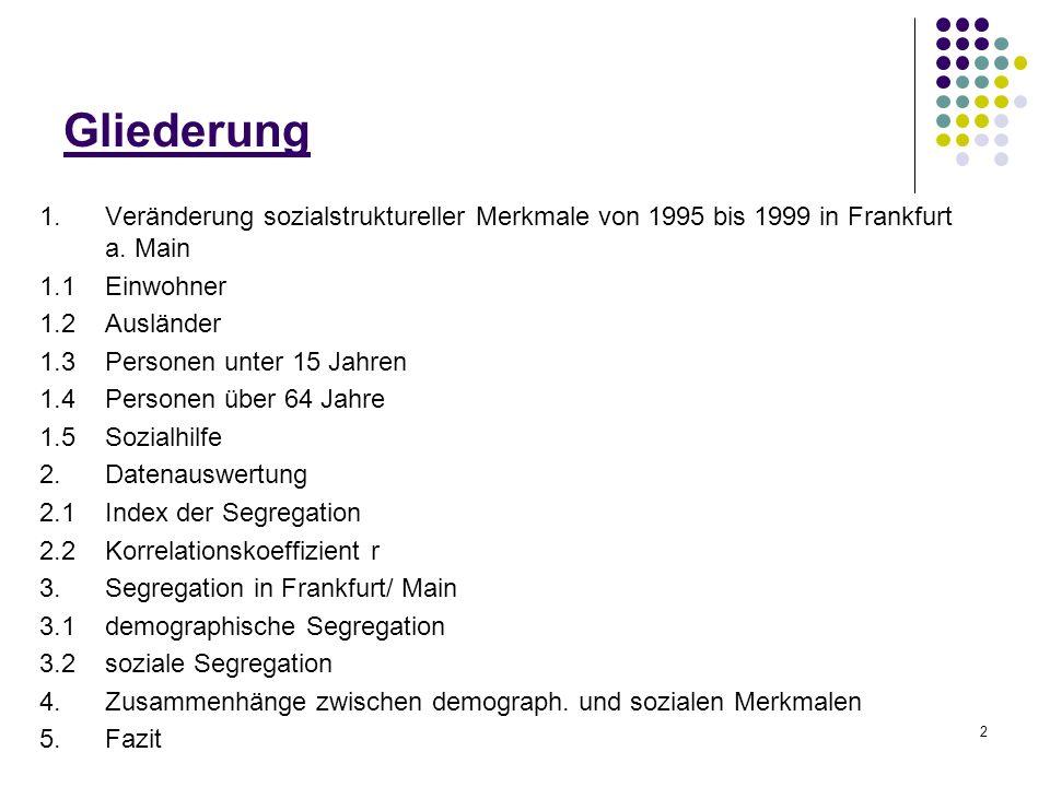 2 Gliederung 1.Veränderung sozialstruktureller Merkmale von 1995 bis 1999 in Frankfurt a. Main 1.1Einwohner 1.2 Ausländer 1.3Personen unter 15 Jahren