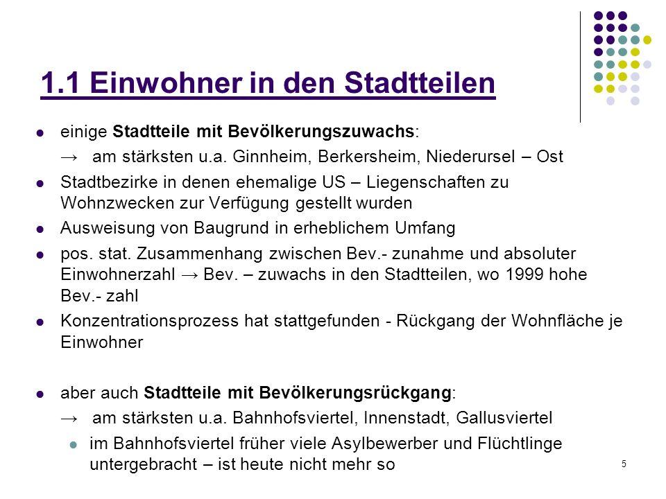 5 1.1 Einwohner in den Stadtteilen einige Stadtteile mit Bevölkerungszuwachs: am stärksten u.a. Ginnheim, Berkersheim, Niederursel – Ost Stadtbezirke