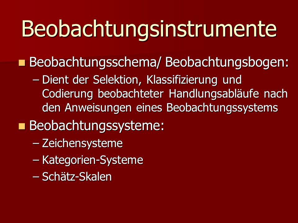 Beobachtungsinstrumente Beobachtungsschema/ Beobachtungsbogen: Beobachtungsschema/ Beobachtungsbogen: –Dient der Selektion, Klassifizierung und Codier
