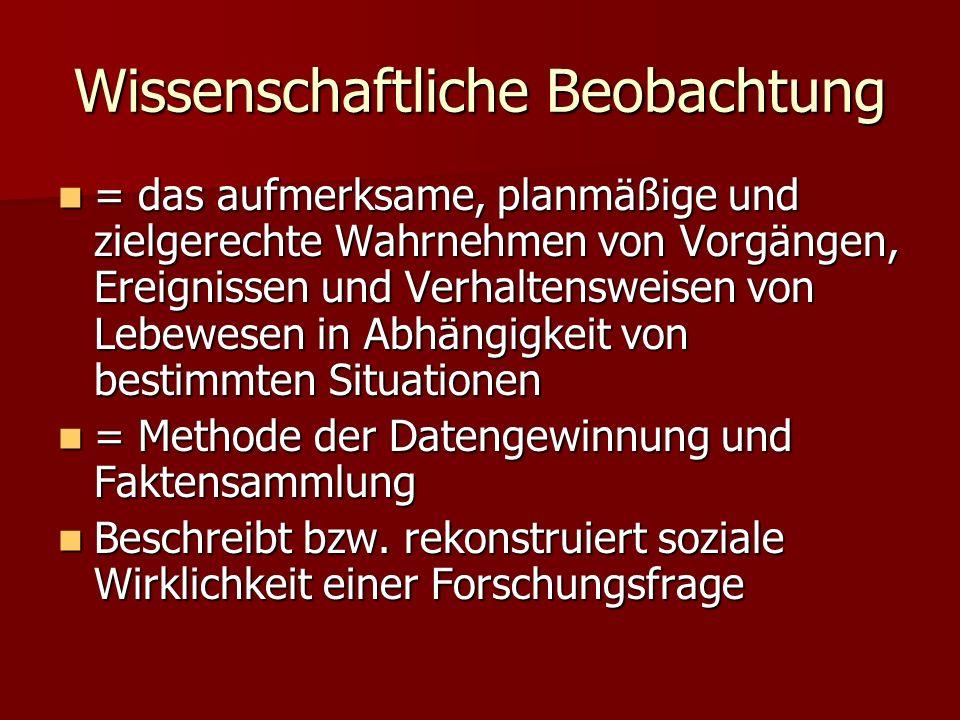 Quellen WWW-Quellen: WWW-Quellen: –http://www.stationsmanagement.de/stm/Mod ul-J/J-Lehrbrief.pdf http://www.stationsmanagement.de/stm/Mod ul-J/J-Lehrbrief.pdfhttp://www.stationsmanagement.de/stm/Mod ul-J/J-Lehrbrief.pdf –http://arbeitsblaetter.stangl- taller.at/FORSCHUNGSMETHODEN/Beobachtu ng.shtml http://arbeitsblaetter.stangl- taller.at/FORSCHUNGSMETHODEN/Beobachtu ng.shtmlhttp://arbeitsblaetter.stangl- taller.at/FORSCHUNGSMETHODEN/Beobachtu ng.shtml