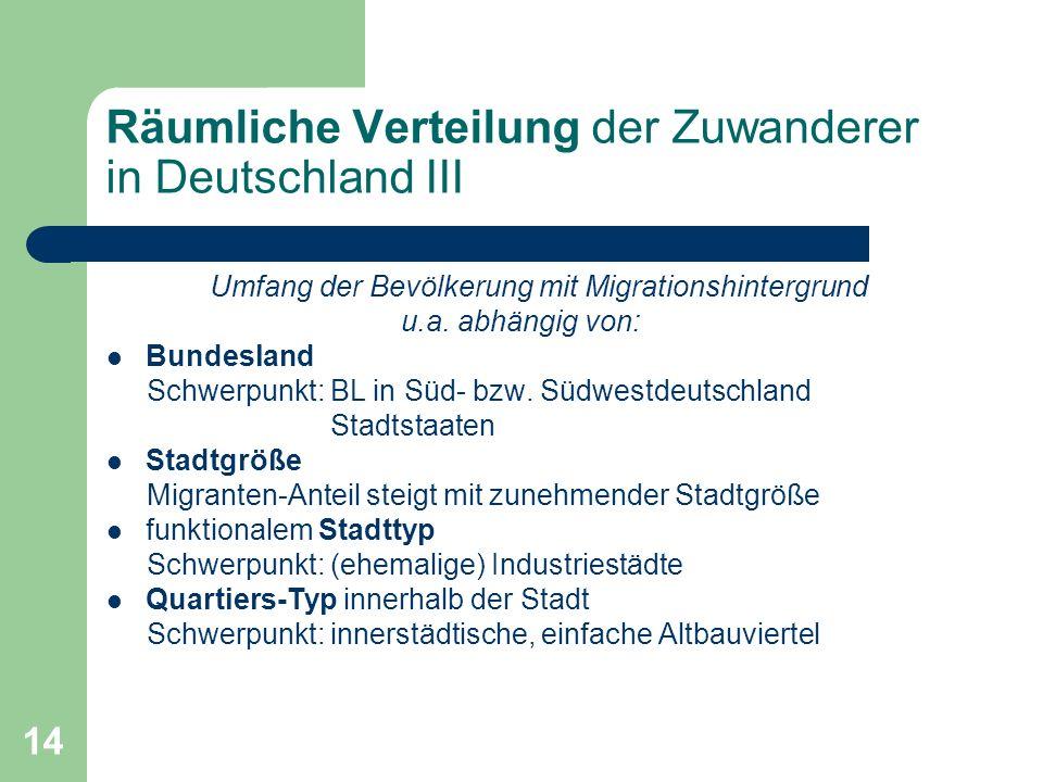 14 Räumliche Verteilung der Zuwanderer in Deutschland III Umfang der Bevölkerung mit Migrationshintergrund u.a. abhängig von: Bundesland Schwerpunkt: