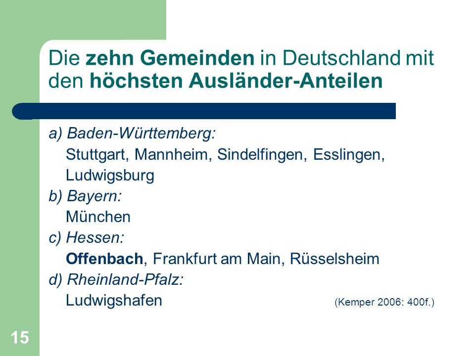 15 Die zehn Gemeinden in Deutschland mit den höchsten Ausländer-Anteilen a) Baden-Württemberg: Stuttgart, Mannheim, Sindelfingen, Esslingen, Ludwigsbu