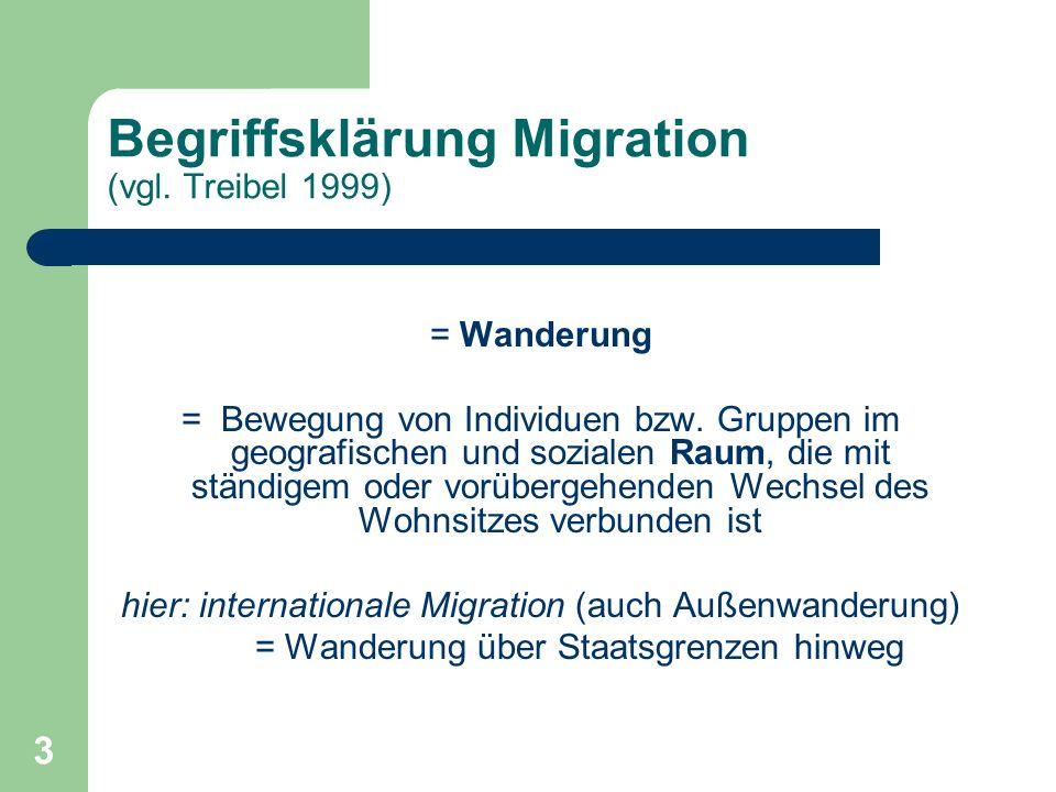 3 Begriffsklärung Migration (vgl. Treibel 1999) = Wanderung = Bewegung von Individuen bzw. Gruppen im geografischen und sozialen Raum, die mit ständig