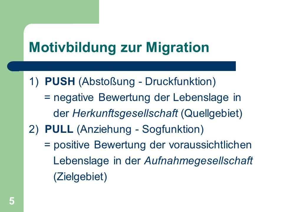 5 Motivbildung zur Migration 1) PUSH (Abstoßung - Druckfunktion) = negative Bewertung der Lebenslage in der Herkunftsgesellschaft (Quellgebiet) 2) PUL
