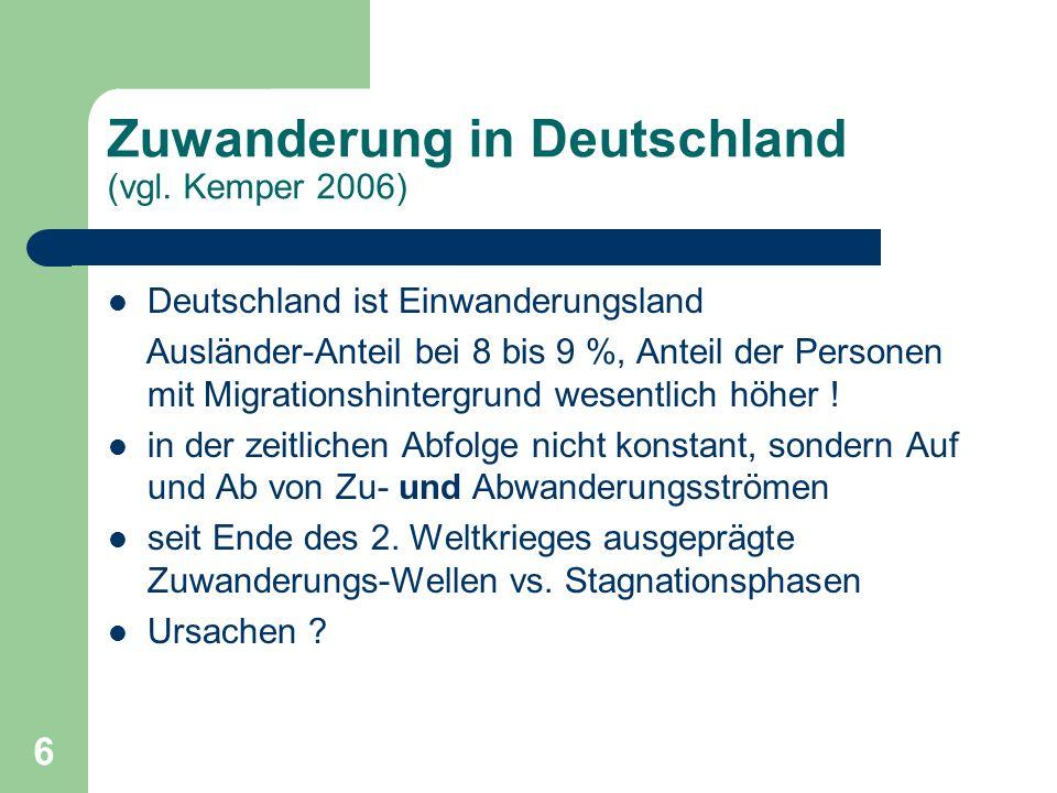 6 Zuwanderung in Deutschland (vgl. Kemper 2006) Deutschland ist Einwanderungsland Ausländer-Anteil bei 8 bis 9 %, Anteil der Personen mit Migrationshi