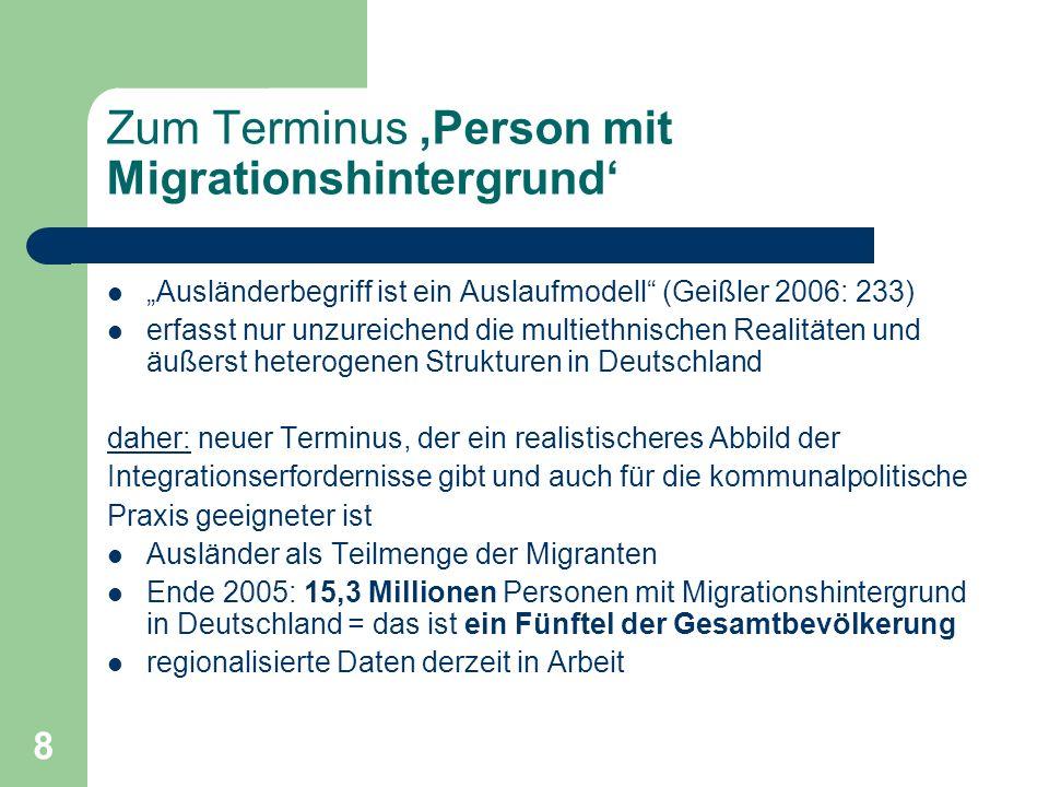 8 Zum Terminus Person mit Migrationshintergrund Ausländerbegriff ist ein Auslaufmodell (Geißler 2006: 233) erfasst nur unzureichend die multiethnische