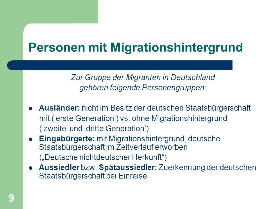 9 Personen mit Migrationshintergrund Zur Gruppe der Migranten in Deutschland gehören folgende Personengruppen: Ausländer: nicht im Besitz der deutsche