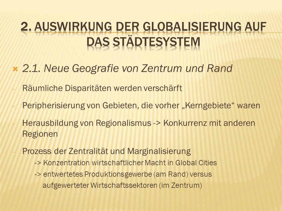 2.1. Neue Geografie von Zentrum und Rand Räumliche Disparitäten werden verschärft Peripherisierung von Gebieten, die vorher Kerngebiete waren Herausbi