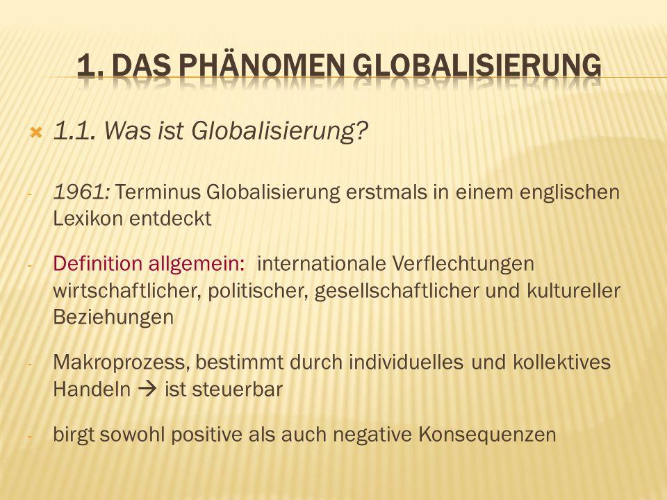1.1. Was ist Globalisierung? - 1961: Terminus Globalisierung erstmals in einem englischen Lexikon entdeckt - Definition allgemein: internationale Verf